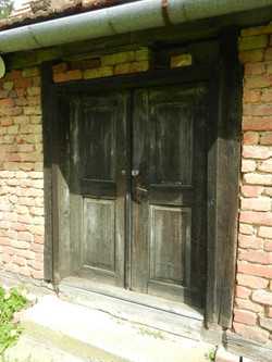 Old wood double front doors
