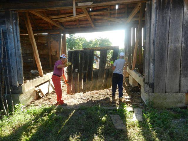Removing old barn door