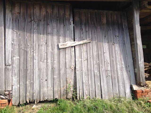 Wood plank barn door