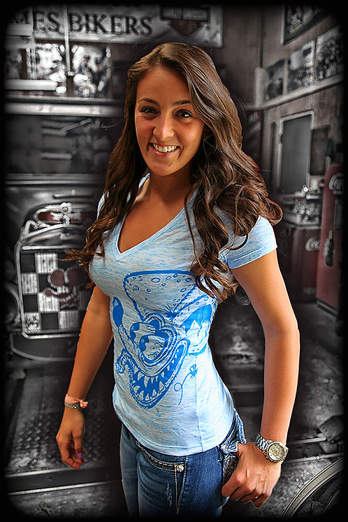 RL-1 Light Blue Burnout V Neck