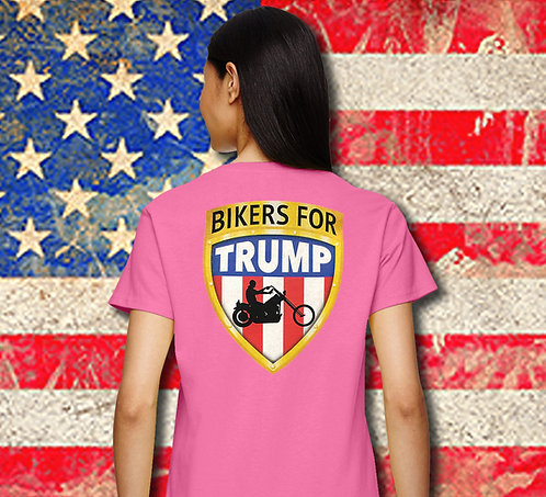 Pink Ladies Bikers for Trump V neck