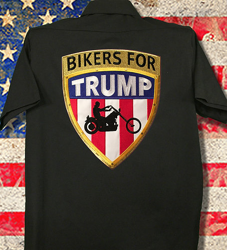 Embroidered Bikers for Trump Dickies Twill Work Shirt