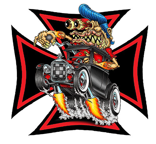 Surfer Old School Rat Rod Sticker 3x3""