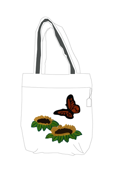 Hand Embroidered Bag with Butterfly Design