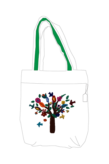Hand Embroidered Bag with Tree Design