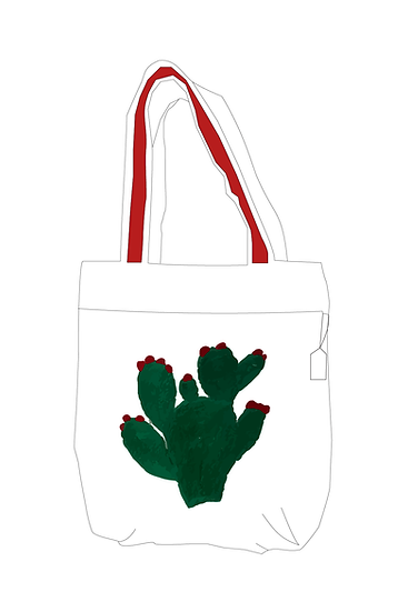 Hand Embroidered Bag with Cactus  Design