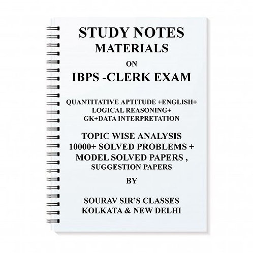 Study Notes Materials On Ibps-Clerk Entrance Exam