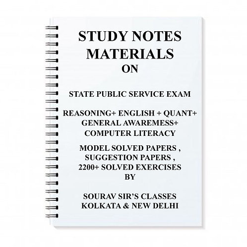 STUDY NOTES MATERIAL FOR STATE PUBLIC SERVICE EXAM + TOPIC WISE ANALYSIS + MODEL