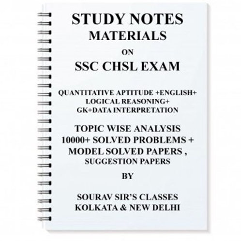 Study Notes Materials On SSC-CHSL Entrance Exam