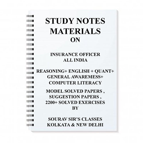 STUDY NOTES MATERIAL FOR INSURANCE OFFICER EXAM + TOPIC WISE ANALYSIS + MODEL
