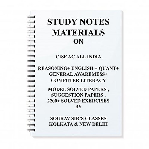 STUDY NOTES MATERIAL/NOTES/BOOKS FOR CISF AC ASSISTANT COMMANDANT EXAM + TOPIC W