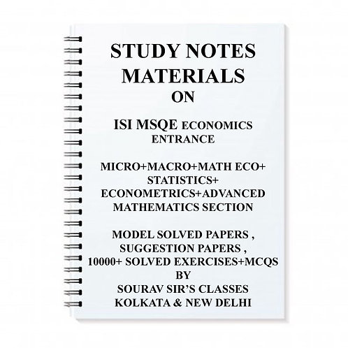 STUDY MATERIALS On ECONOMICS Entrance Exam For ISI MSQE NOTES BOOKS