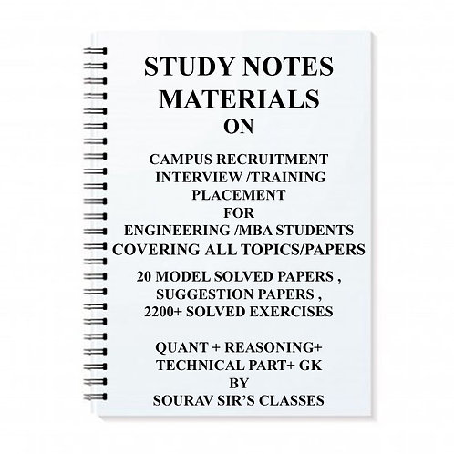 Study Notes Material On Campus Interview Preparation and Training for Preplaceme