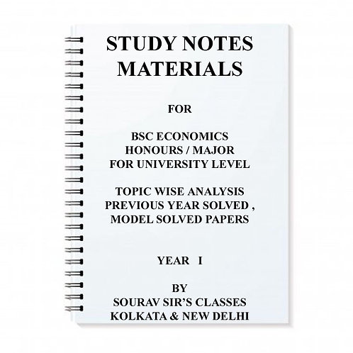Study Notes Materials For Economics Honours Year I