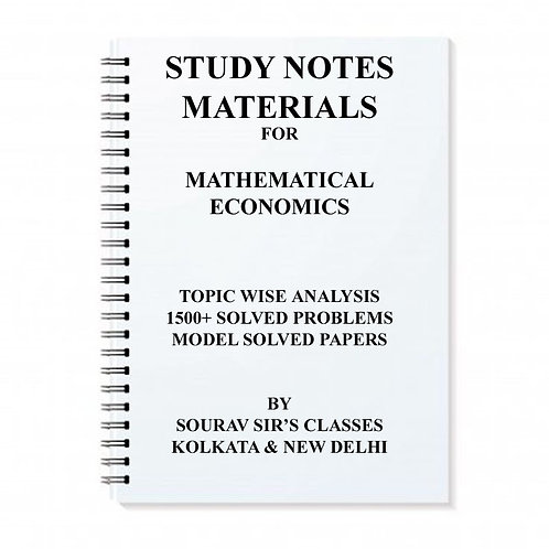 Study Notes Materials For Mathematical Economics