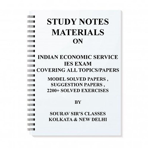 STUDY MATERIAL FOR IES INDIAN ECONOMIC SERVICE KIT /NOTES + MODEL PAPER+MCQ + PR