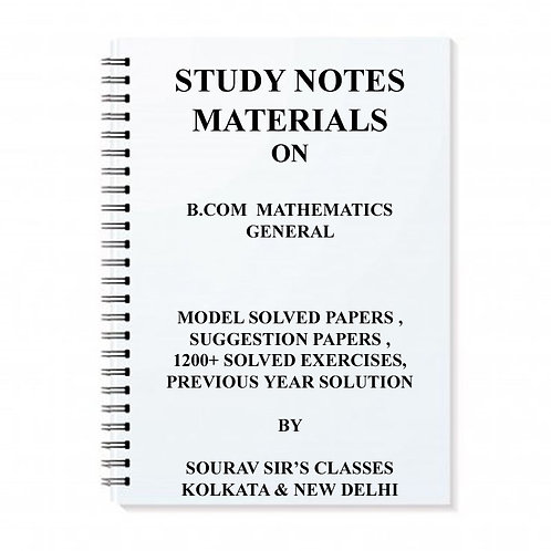 Study Material Notes On B.com Mathematics General