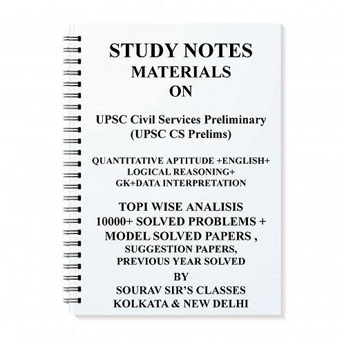 Study Notes Materials On UPSC CS Prelims Entrance