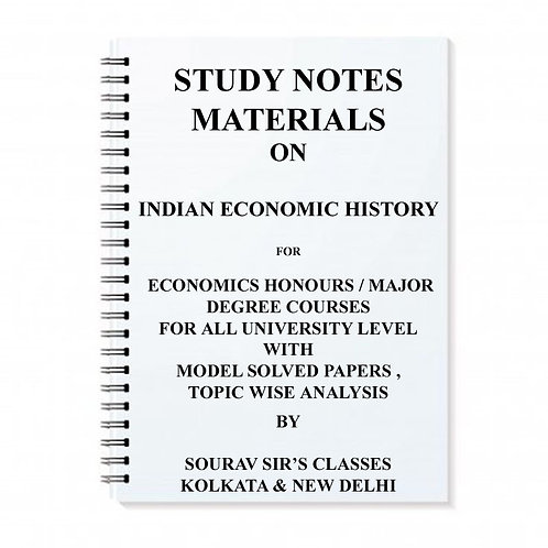 Study Notes Materials On Indian Economic History