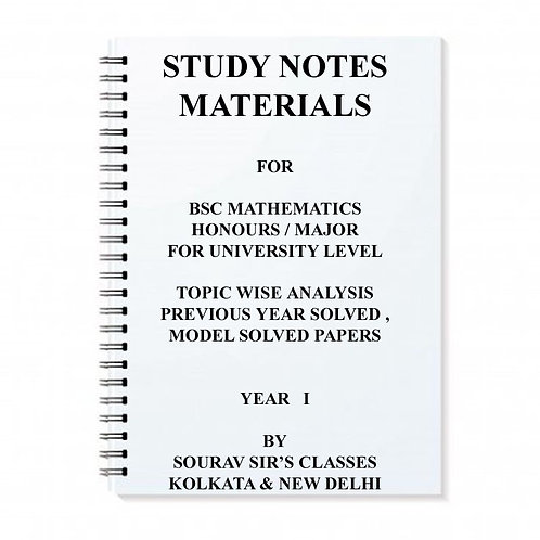 Study Material Notes On B.SC Mathematics Honours