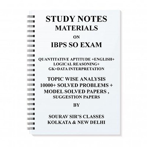Study Notes Materials On IBPS-SO Entrance Exam