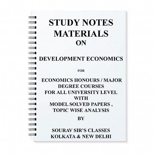 Study Notes Materials On Development Economics