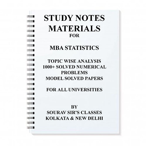 STUDY NOTES MATERIALS MBA STATISTICS