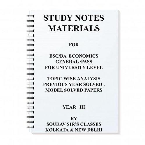 Study Notes Materials For Bsc / Ba Economics