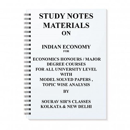 Study Notes Materials On Indian Economy