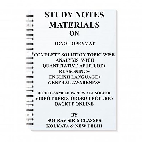 STUDY MATERIALS FOR IGNOU OPENMAT COMPLETE SOLUTION TOPIC WISE ANALYSIS WITH QUA