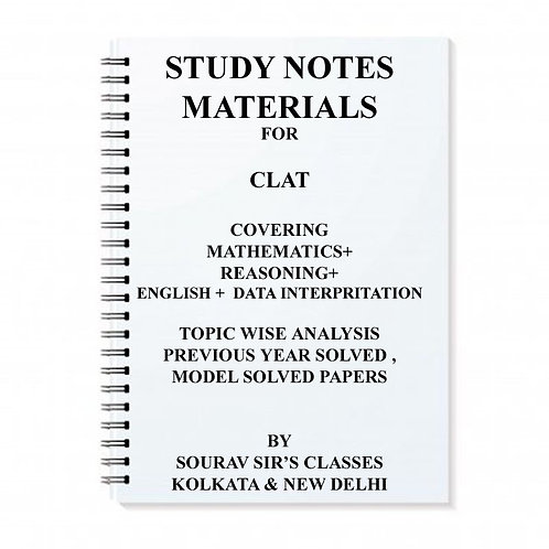 Study Notes On CLAT EXAM 2017 With Legal Aptitude , Maths , Reasoning, Gk, Engli