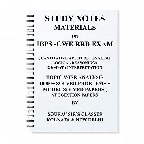 IBPS-CWE RRB Entrance Exam Study Notes Materials