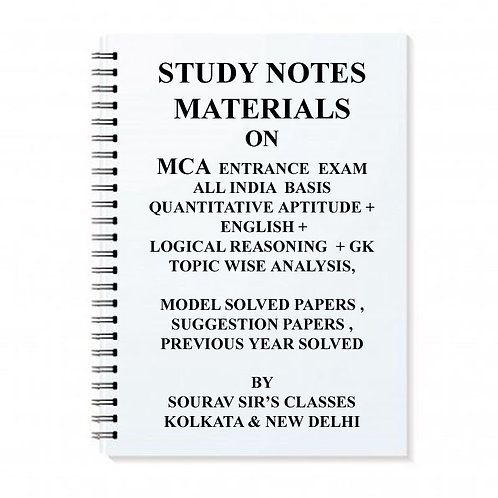 Study Notes Materials On MCA Entrance Exam