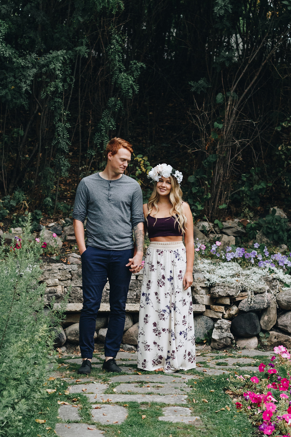 Boho anniversary session in the gardens of Captain Kennedy Tea House
