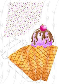 קופסא גלידה בגביע  עם סימונים1