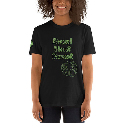 Proud Plant Parent Short-Sleeve Unisex T-Shirt With Monstera Leaf On Sleeve