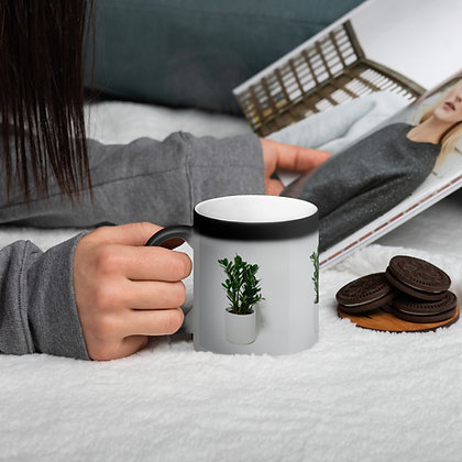 Matte Black Magic Mug With ZZ Plant