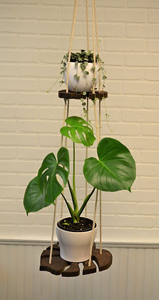 Monstera Leaf Hanging Plant Shelf With Natural Cotton Rope