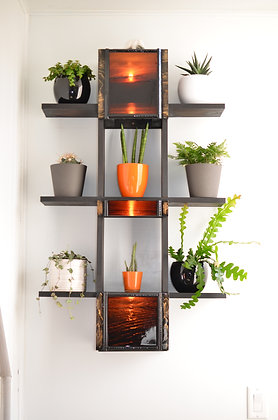 Wall Mounted Plant Shelf - Natural, Stained, Colour or Shou Sugi Ban