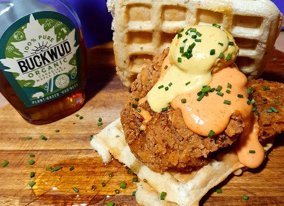 Chicken & Waffle Burger with Vegan Egg Yolk