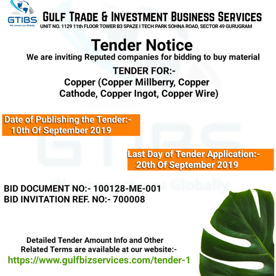 SALE OF TENDER - COPPER