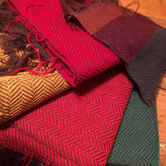 Merino wool scarves fresh off the loom