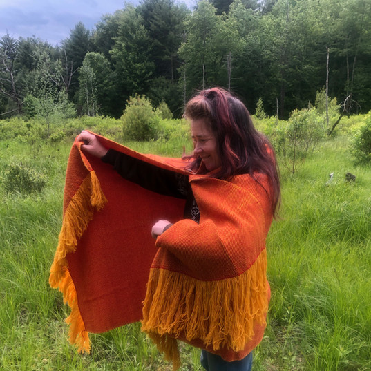 Custom crimson and gold fine weight merino wool shawl
