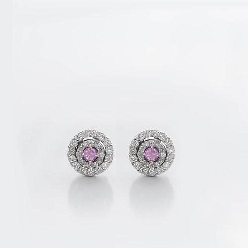 Brinco Aquarela Diamantes e Pedra Corada