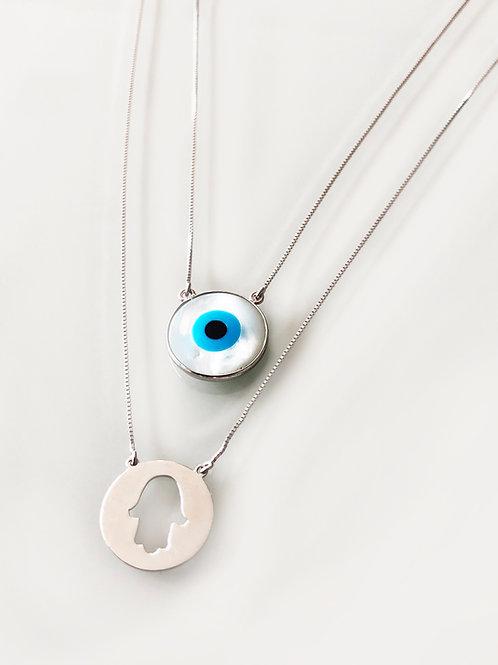 Escapulário Proteção Hamsá + Olho Grego Grande