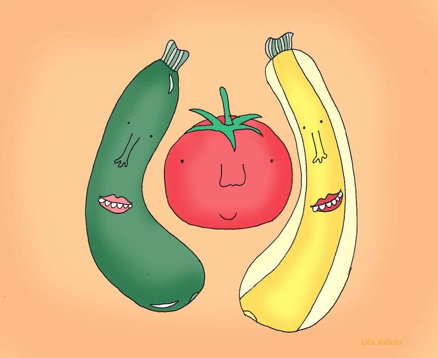 Lila's illustration of zucchini and tomato