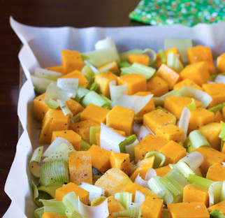 Roasted butternut squash with leeks