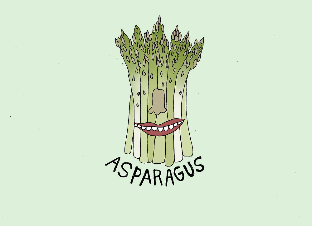 whimsical bunch of asparagus with a toothy smile