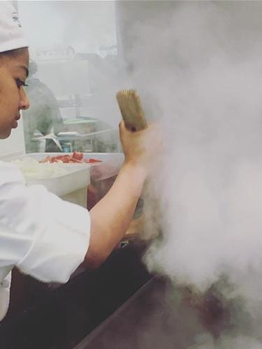 Cooking in the tilt skillet