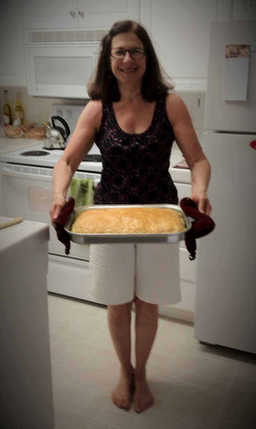 Alison's Sister with pan of Spanakopita